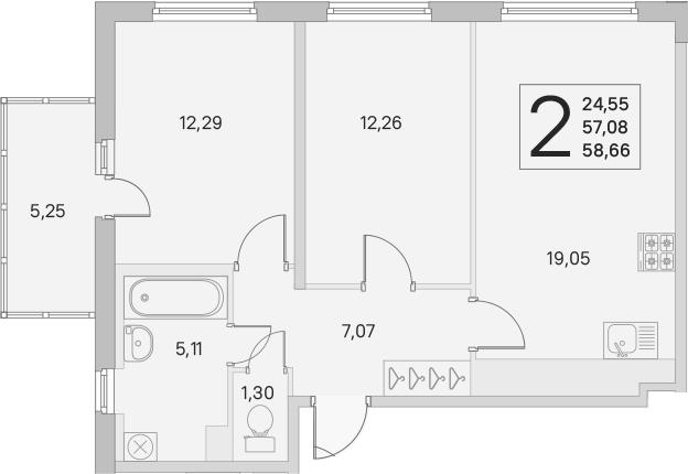 3Е-к.кв, 57.08 м², 2 этаж