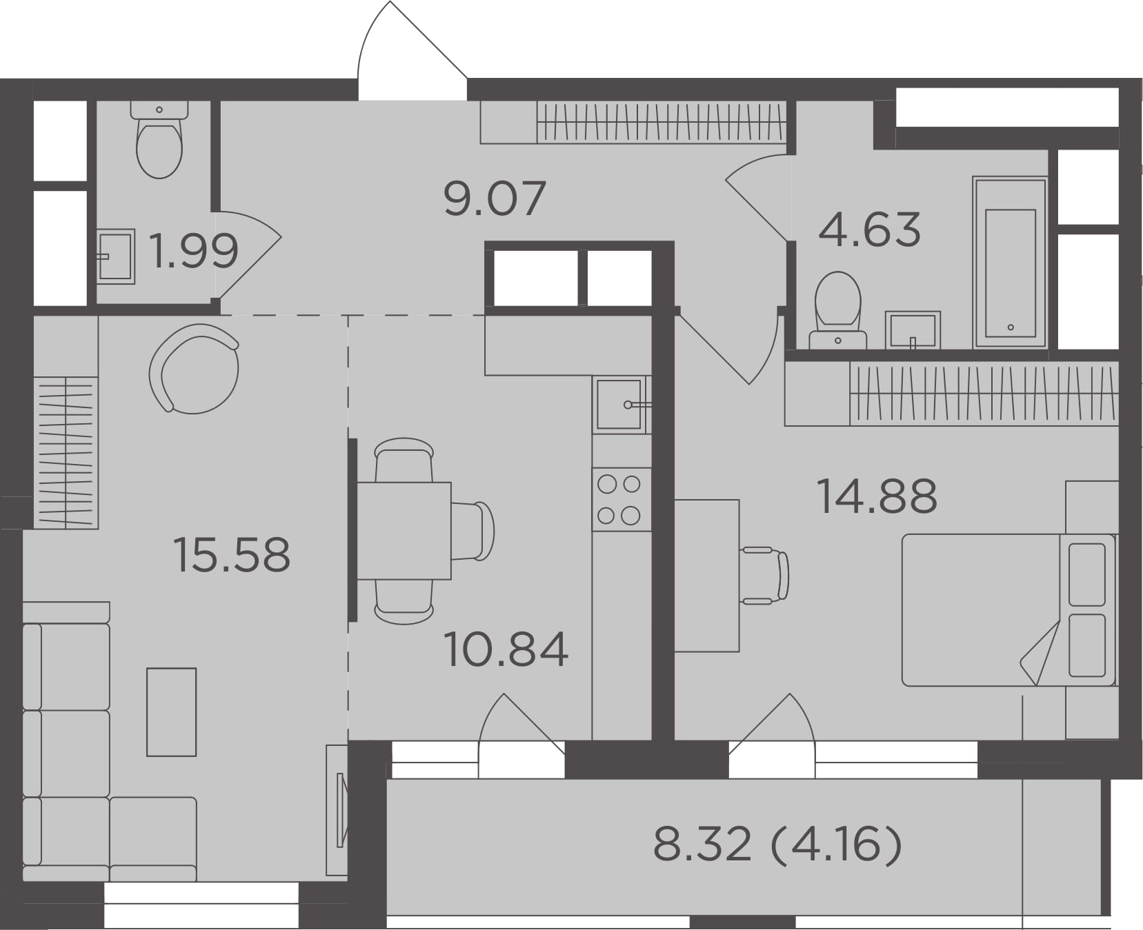 2-комнатная, 61.15 м²– 2