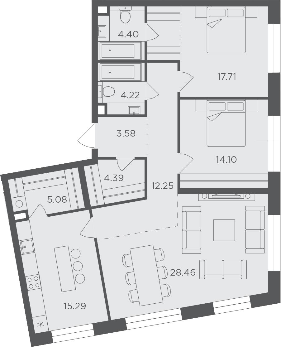 3-комнатная, 109.48 м²– 2