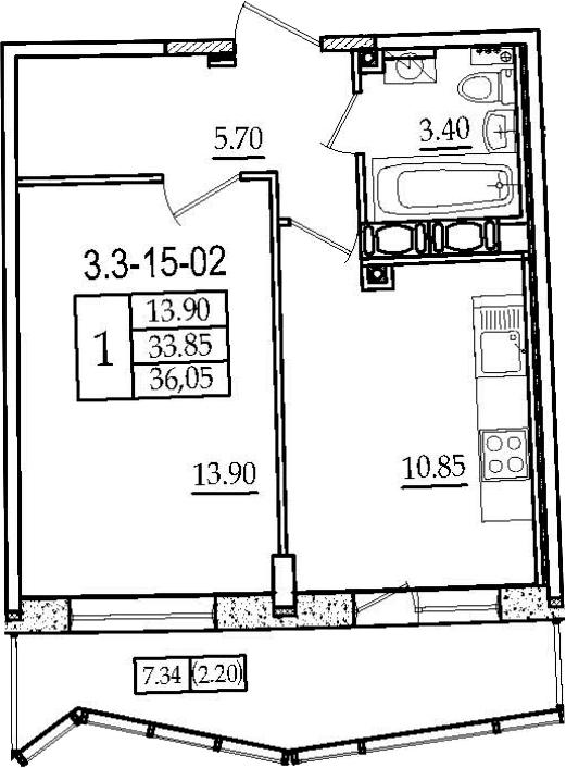 1-к.кв, 36.05 м², 15 этаж
