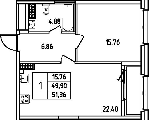 2Е-к.кв, 51.36 м²