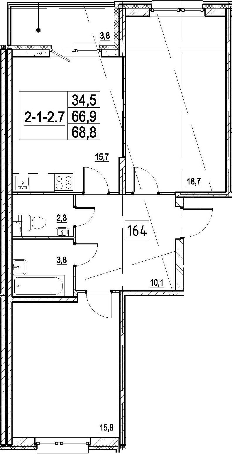 3Е-к.кв, 68.8 м², 1 этаж