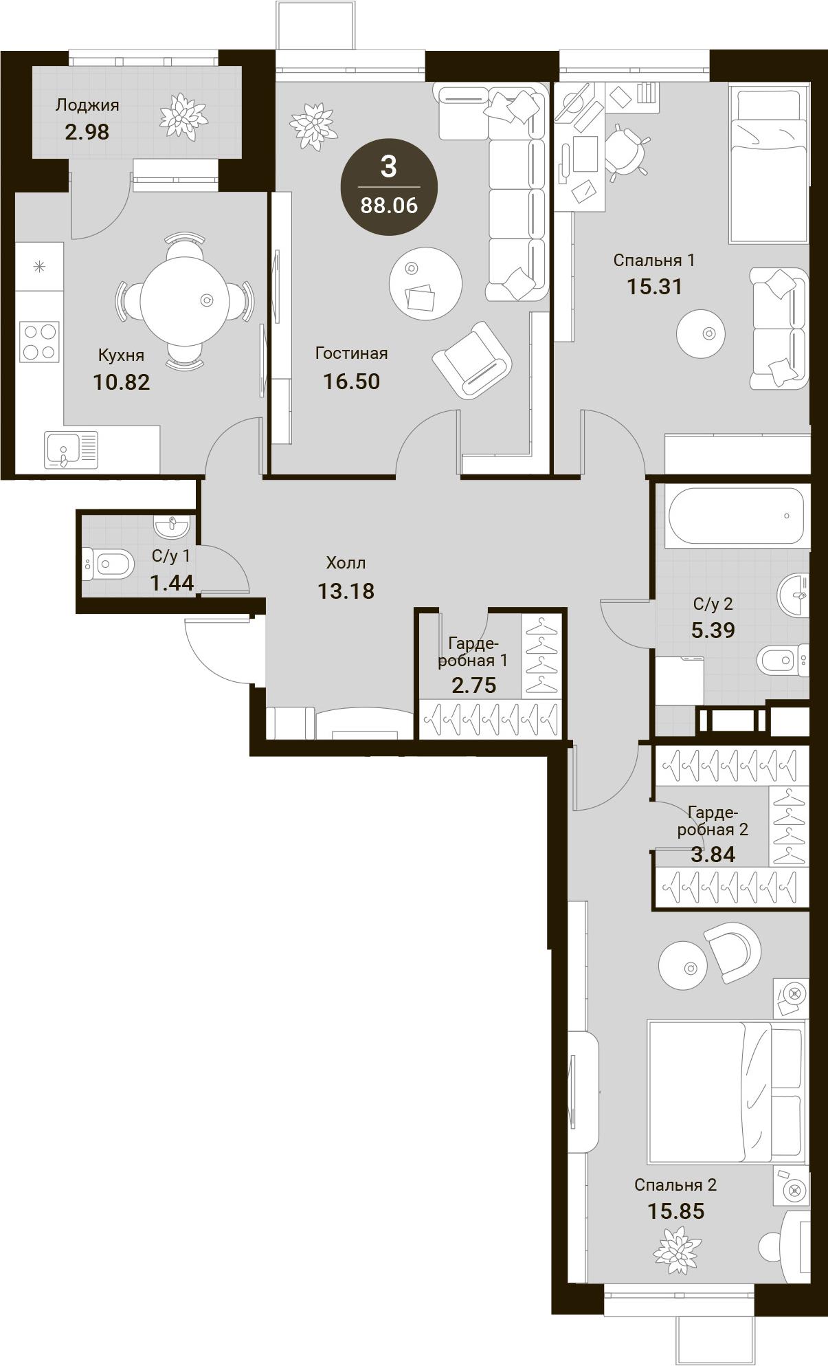 3-комнатная, 88.06 м²– 2