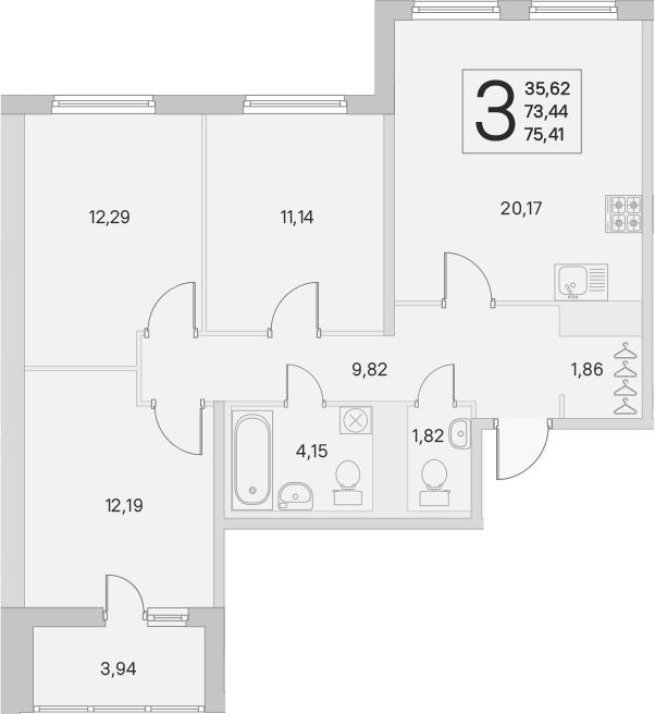 4Е-комнатная, 73.44 м²– 2