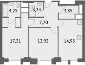 2-к.кв, 65.31 м²