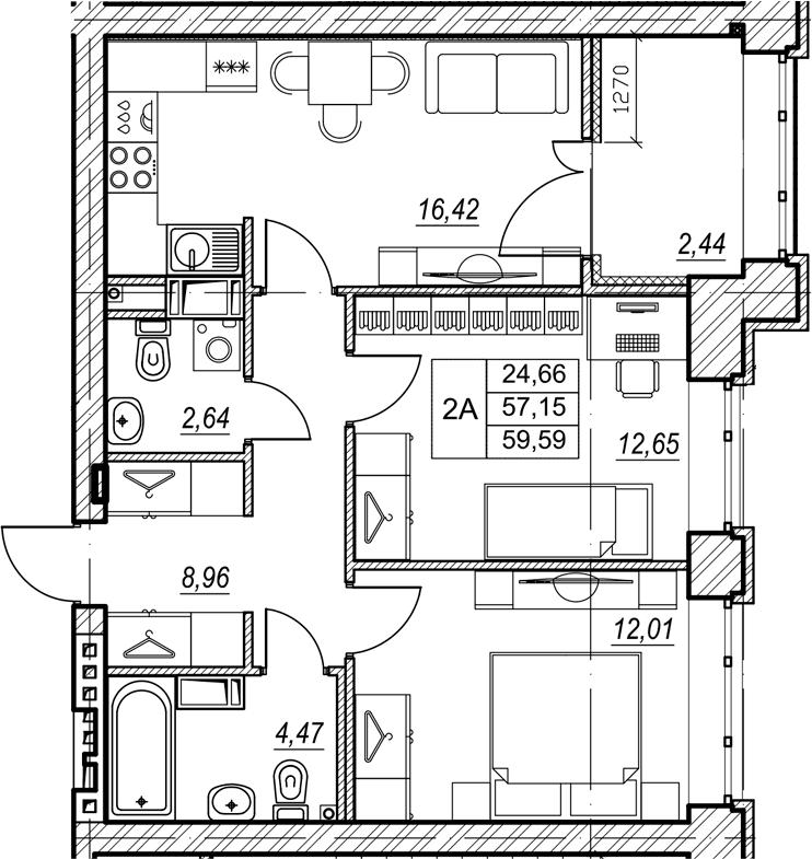 2-к.кв, 59.59 м², от 7 этажа