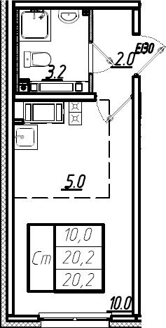 Студия, 20.2 м², 23 этаж – Планировка