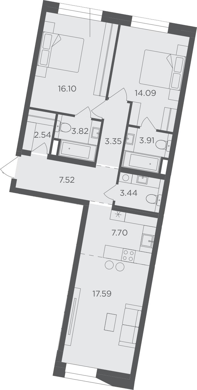 3Е-к.кв, 80.06 м², 5 этаж