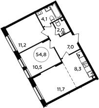 3Е-к.кв, 54.8 м²