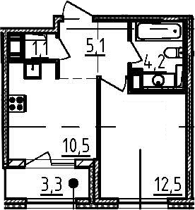 1-к.кв, 35.1 м², 4 этаж