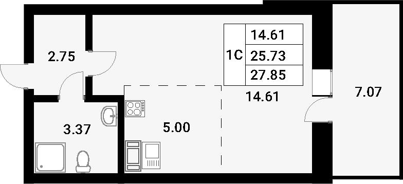 Студия, 32.8 м²