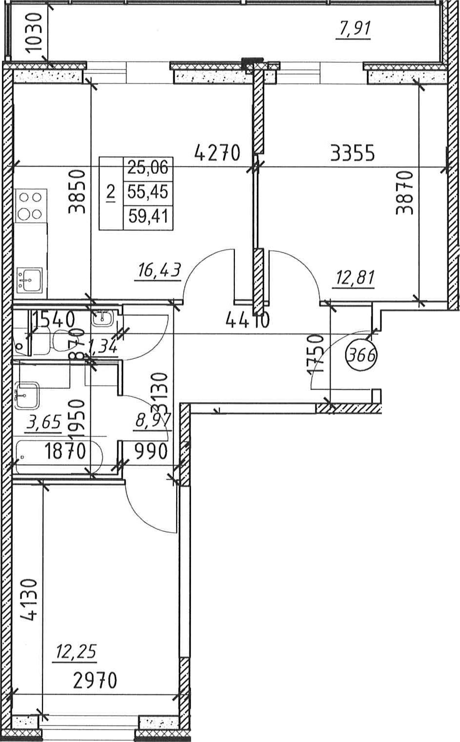 2-к.кв, 63.36 м²