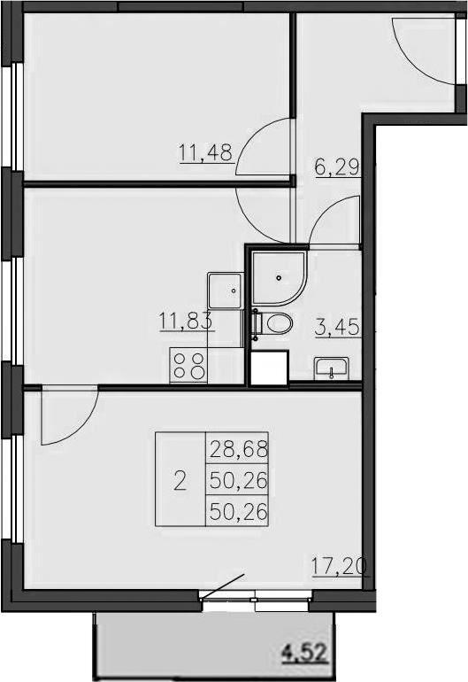 2-к.кв, 55.09 м²