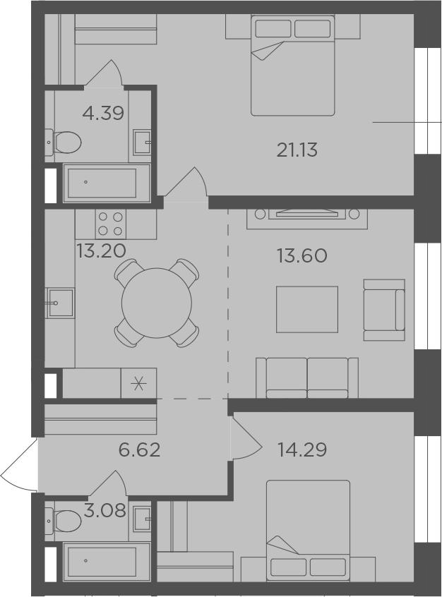 3Е-к.кв, 76.31 м², 7 этаж