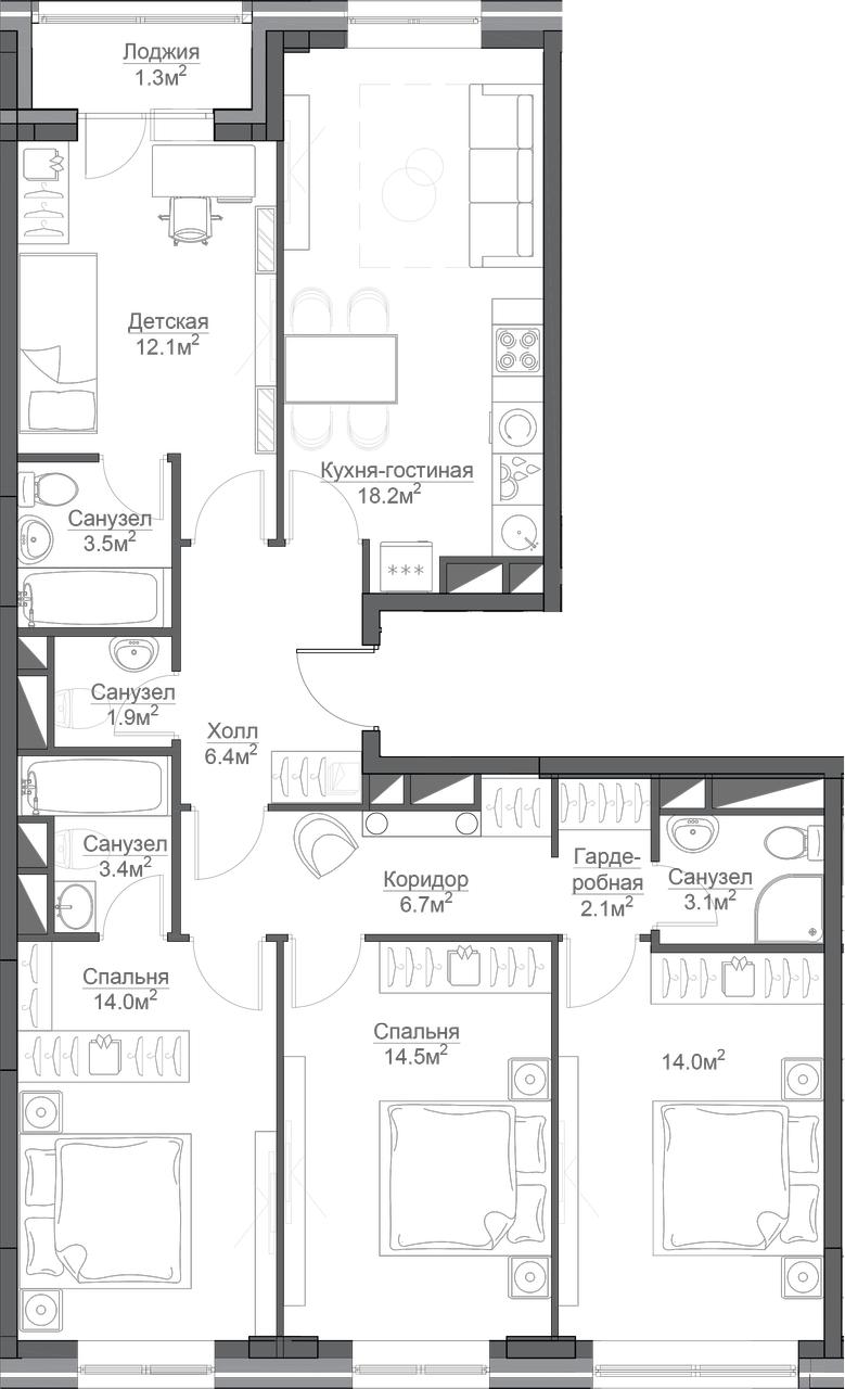 4-к.кв, 107.5 м²