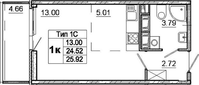 Студия, 24.52 м²– 2