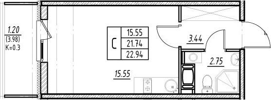Студия, 21.74 м²