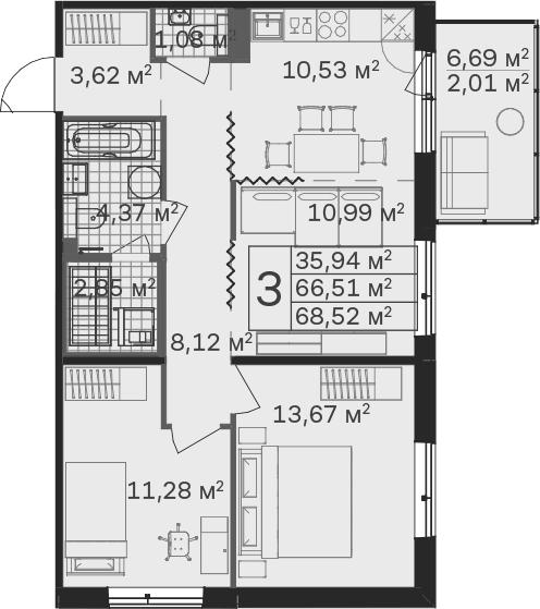 3Е-к.кв, 68.52 м², от 4 этажа