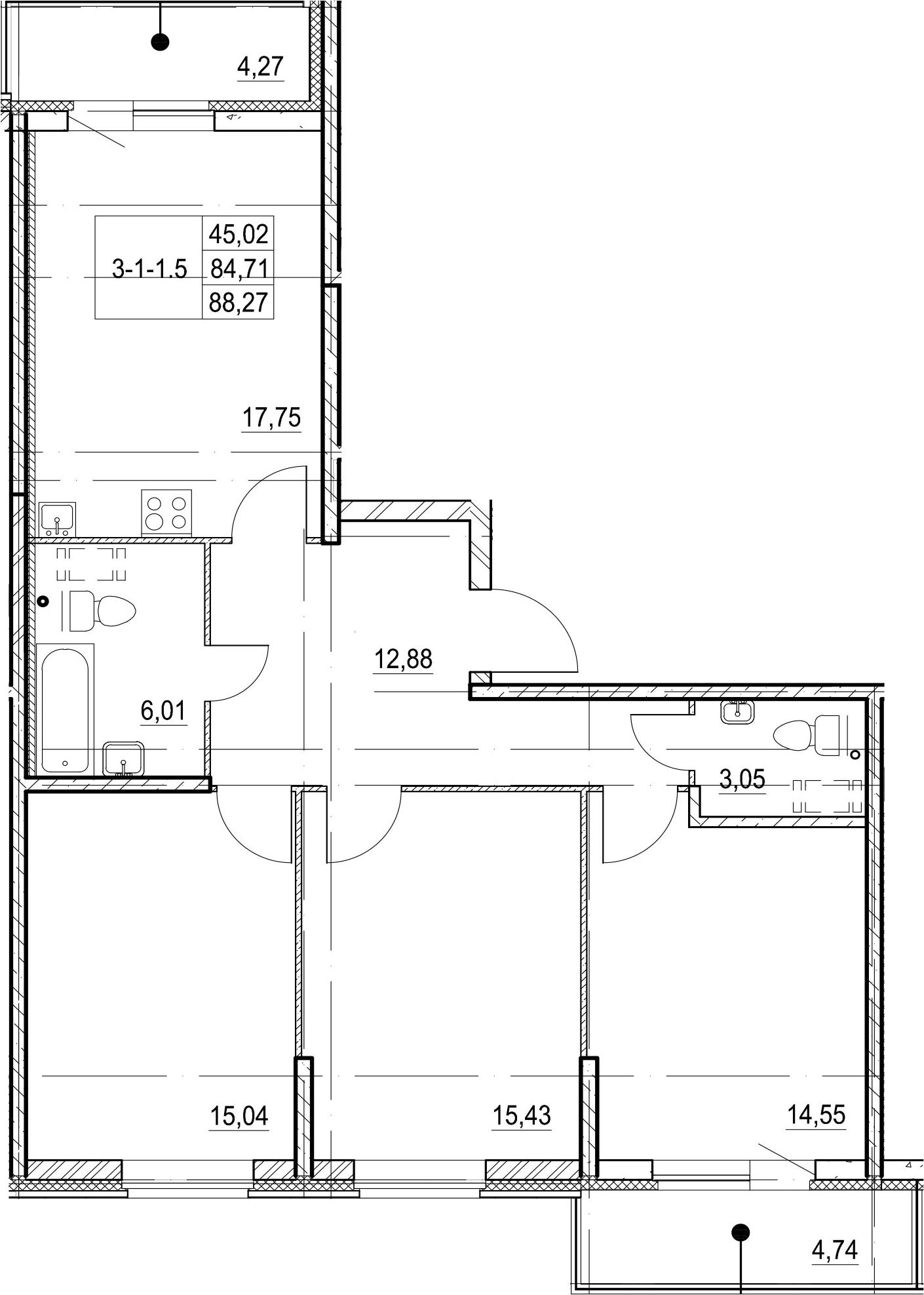 4-к.кв (евро), 93.73 м²