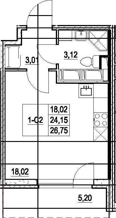 Студия, 29.35 м²