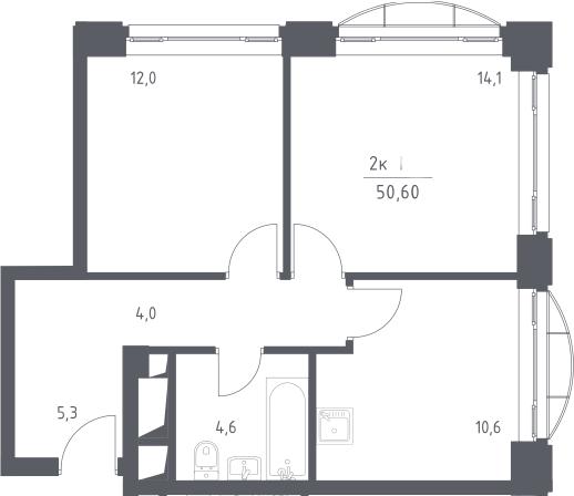 2-к.кв, 50.6 м², 13 этаж