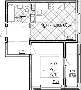 1-к.кв, 37.1 м²