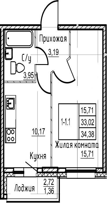 1-комнатная, 34.38 м²– 2