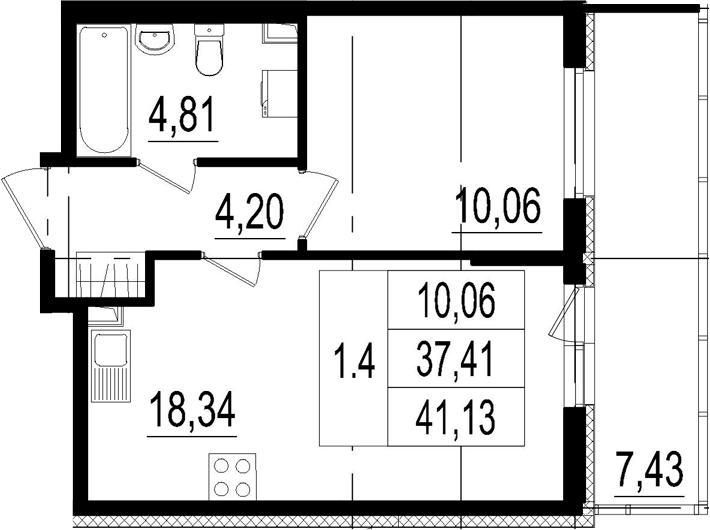 2Е-комнатная, 37.41 м²– 2