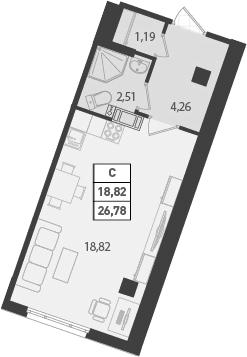 Студия, 26.78 м², 18 этаж – Планировка
