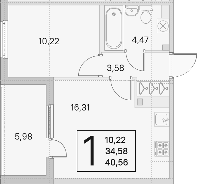 2Е-комнатная, 34.58 м²– 2