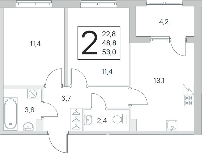 3Е-к.кв, 48.8 м²