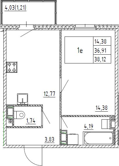 2Е-к.кв, 38.12 м²