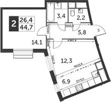2Е-к.кв, 44.7 м²