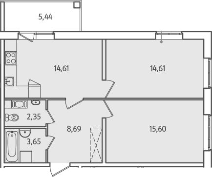 2-к.кв, 62.23 м², от 2 этажа
