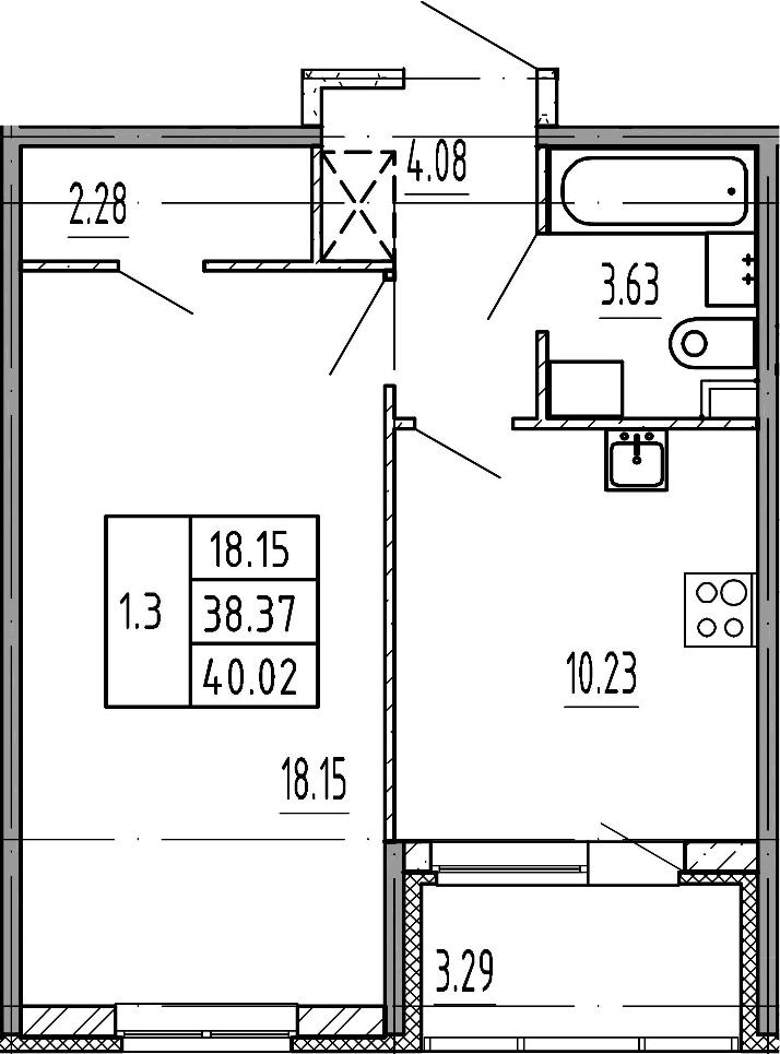 1-комнатная, 38.37 м²– 2