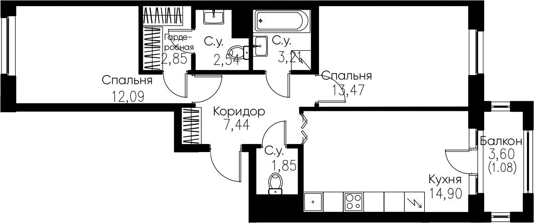 2-комнатная, 59.43 м²– 2