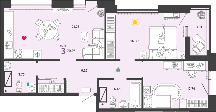 3Е-к.кв, 70.95 м²