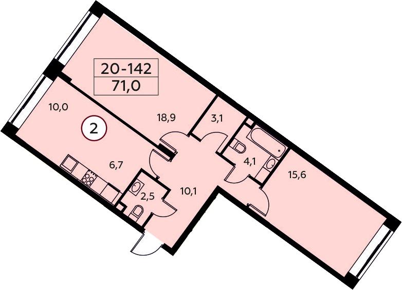 3Е-к.кв, 71 м²