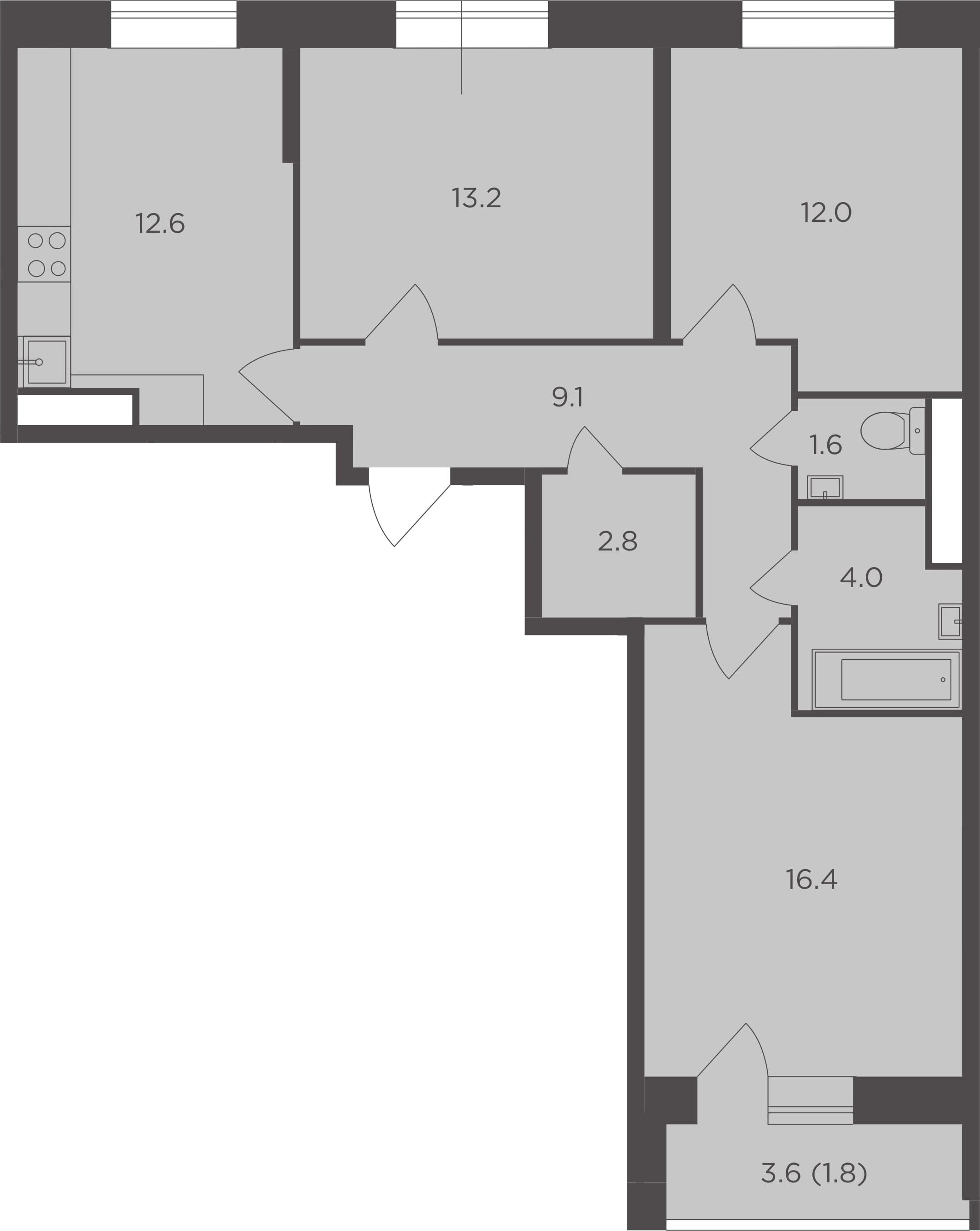 3-к.кв, 73.5 м², 11 этаж