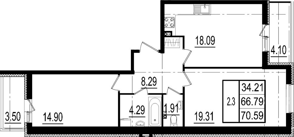 3-к.кв (евро), 74.39 м²