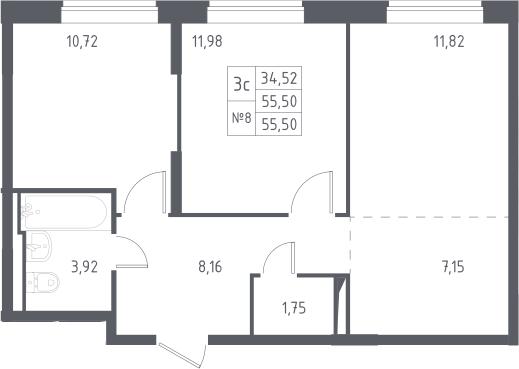 3Е-к.кв, 55.5 м²