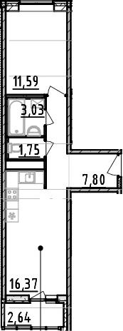 1-к.кв, 43.18 м²