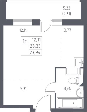 Студия, 27.94 м²– 2