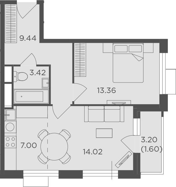 2Е-к.кв, 48.84 м², 24 этаж