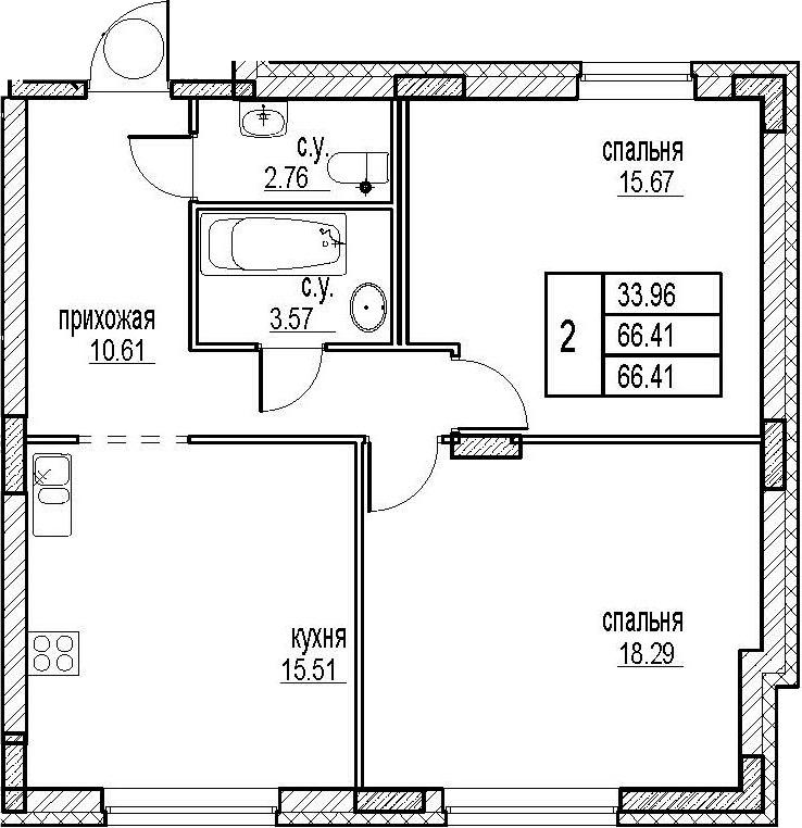 2-комнатная, 66.41 м²– 2