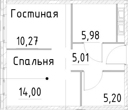 1-к.кв, 40.45 м², от 18 этажа