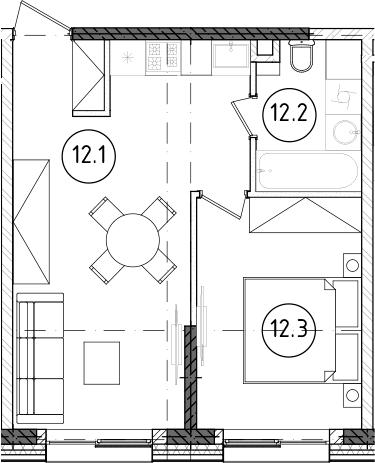 2Е-комнатная, 37.48 м²– 2