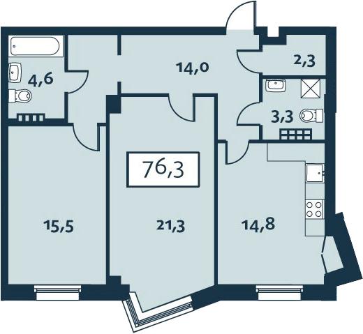 2-комнатная, 76.25 м²– 2