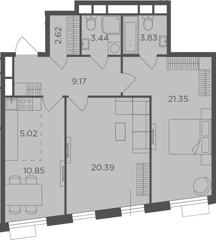 3Е-комнатная, 76.67 м²– 2