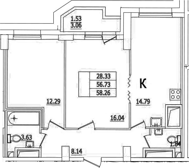 3Е-комнатная, 58.26 м²– 2